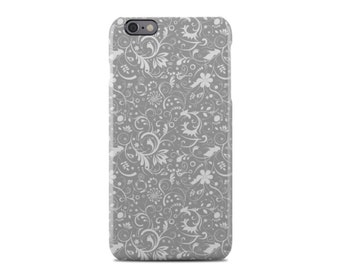 Grey Floral Pattern iPhone 6 Case - iPhone 6 Plus Case - iPhone 5 Case - iPhone 5S Case - iPhone 5C Case
