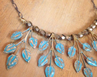 Vintage Patina Leaf Charm Necklace