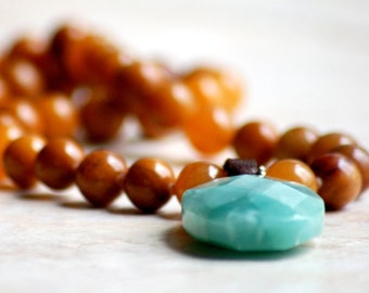 Camel Jasper & Blue Amazonite Statement Necklace Long With Leather Bale