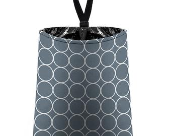 Car Trash Bag // Auto Trash Bag // Car Accessories // Car Litter Bag // Car Garbage Bag - Rings (dark grey and white) // Car Organizer