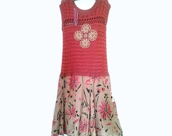 Lacy Knit Dress, Upcycled, Cotton, Vintage Doily, Flowers, Salmon Pink, Cream, Pretty Dress