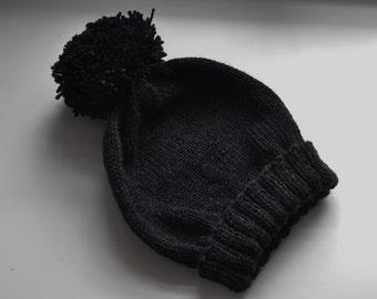 Handknit 100% Wool Pom Pom Beanie Hat - Charcoal