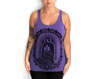 XL -Tri-Blend Purple Racerback Tank with Our Lady Screen Print