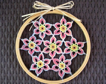 Hippie crochet wall hanging - boho hanging crochet - handpainted wall art