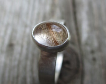 Ready to Ship - One of a Kind - Spinning Straw into Gold. Rutilated Quartz, sterling and fine silver ring