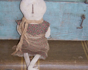 Primitive Doll, Early Style Cloth Doll, Rustic Snowman, Attic Look, Early American Doll, Worn Out Rag Doll, Handmade in USA