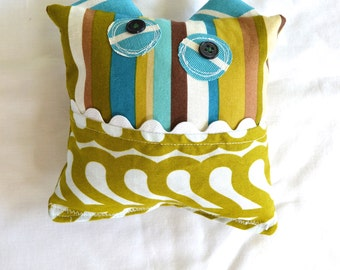 Monster Tooth Fairy Pillow - Boys - Green Brown Blue Stripe
