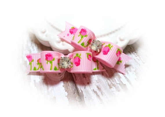 Dog Bows for Spring, Pink Roses Dog Hair Bows with Rhinestones