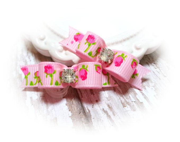 Pink Dog Bow, Flower Dog Bows, Pink Pet Bows, Pink Grooming Bows, Pink Roses Bow, Pink Grooming Bow, Girl Dog Bows, Pink Flower Bows