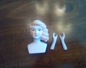 Porcelain doll head and arms set, 3 inches tall, side swept hair, blond