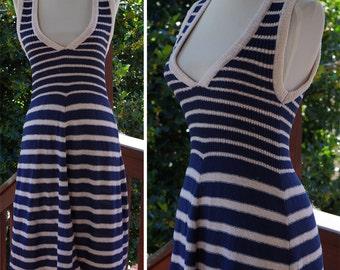 NAUTICAL 1960's 70's Vintage Sleeveless Navy Blue + White Striped Knit Sweater Dress // size XS Small