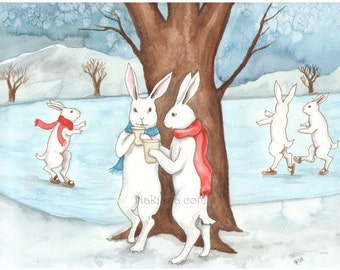 Our Winter Coffee - Fine Art Print - Rabbits
