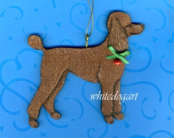 Handpainted Chocolate Poodle Christmas Ornament