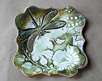 Ceramic Moss Green and White Damask trinket bowl Jewelry Holder Dish