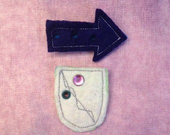 Sale: Felted Badge and Arrow Pin by PenFelt