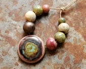 Protective Eye / Tribal Round Pendant and Bead Set