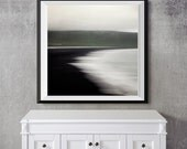 Abstract Landscape Photography, Framed Art, Minimalist Home Decor, Iceland Nature Print, Modern Art, Black and White Wall Decor - Flux