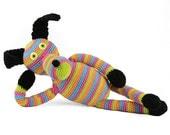 stuart striped multi color crocheted dog softie plush animal