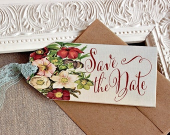 Marsala Floral  Wedding Save the Date  Hinged Shipping Tags Lace Rustic Vintage Wedding