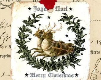 Vintage Reindeer , Christmas Gift Tags , Holly , Merry Christmas , Joyeux Noel