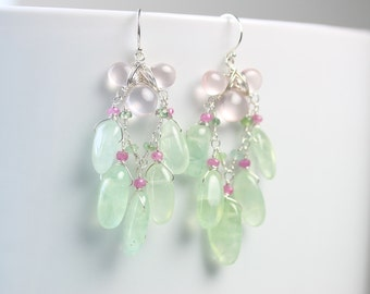 Rose and Mint Chandelier Earrings . Prehnite Rose Quartz Sapphire and Tourmaline . Sterling Silver Chandeliers