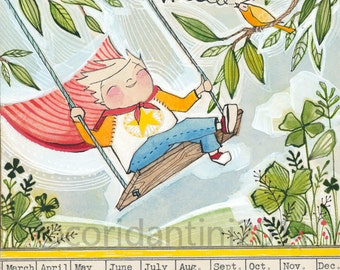 little boy on a swing by Cori Dantini, The Adventurers by Blend fabrics - nursery decor - limited edition and archival 8 x 10 print