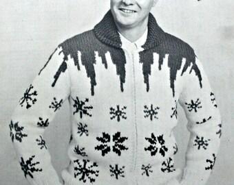 Knitting Pattern Cardigan Sweater Men Snowflake Curling Jacket Sizes 38, 40, 42, 44 Newlands Harding no 7 Vintage Paper Original NOT a PDF