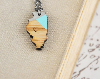 CUSTOM COLOR / llinois State Necklace / Heart / Modern Jewelry