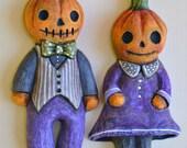 Little Anthropomorphic Pumpkin People Jack-o-Lanterns Original Hand Painted Halloween Folk Art Ceramic Sculpture OOAK