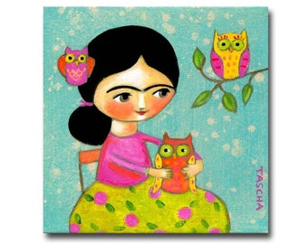 ORIGINAL acrylic painting FRIDA Kahlo with OWL folk art painting by Tascha