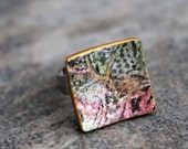 Square ring. Polymer clay. Adjustable. Gold green Pink black. Abstract Art fashion jewelry. Modern Contemporary Casual. Fimo Clay and Metal.
