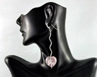 Rose quartz earrings. Hearts earrings. Gemstone earrings. Pink earrings