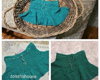 Infant/toddler crochet skirt, Baby girl crochet skirt, Green and Ecru baby crochet skirt