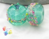 Lampwork Beads Vintage Blossoms Opalescent Mint Pair