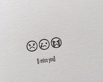 Emojicards: I Miss You, single letterpress card