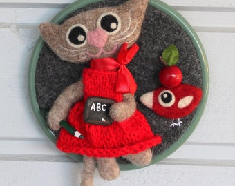 Wall hanging embroidery hoop felted wool fiber art needle felted Agatha the kitty birdie bird