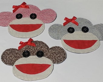 Sock Monkey Applique, Sock Monkey Patch, Large Sock Monkey, Sock Monkey, Fabric Sock Monkey,Monkey,Pink, Brown or Gray,Made to Order
