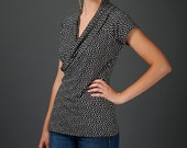 Helena top - faux wrap top with geometric print in soft jersey