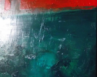 Abstract painting, teal, red, viridian, original fine art, oil on canvas, 20 x 16 inches