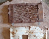 Rusty Metal Flat Rectangular Embossed Grill Mesh Sculpture Welding Supply  -- Primitive Assemblage or Altered Art