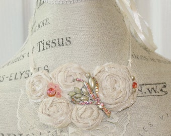 Fabric Bib Rosette Statement Necklace or Wedding Piece Small Off White with Peach colors