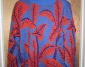 Esprit Sweater Vintage 1980's - Women's SMALL S - Purple Orange Leaf Print - Oversized Fit
