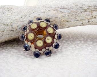 Art glass /  mandala / disc bead / big hole bead / focal bead / Amber / Ivory / Purple