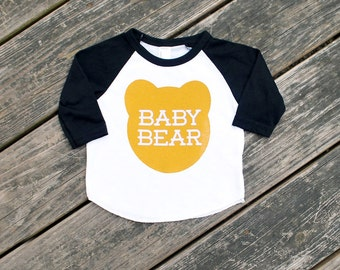 Size 2 Baby Bear Black Raglan Sleeve Baseball TShirt with Mustard Yellow Ochre Print