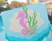 Mermaid Birthday Garland - Under the Sea Theme Bach Pool Party Happy Birthday Banner- Ombre Mermaid Decorations Little Mermaid 1st Bday