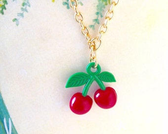 Red Juicy Cherry Golden Necklace, Cherry Necklace, Cute Necklace, Sweet Necklace, Fruit Necklace, Christmas Gift, Sweet Gift for Her