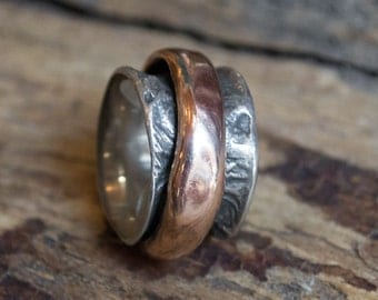 Rustic Wedding band, spinner ring, fidget wedding ring, silver gold ring, unique mens wedding band, boho ring, biker ring - Eternity R1358C