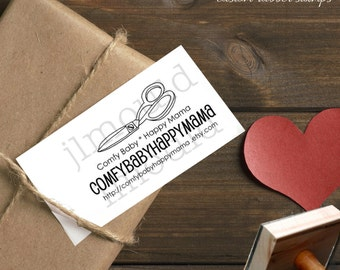 0115 JLMould Small Business Custom Rubber Stamp for Business Card or Sewing Labels featuring hand drawn pair of Scissors