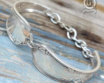 Meadowbrook 1936 Pattern Spoon Bracelet - Adjustable - Handcrafted by Doctor Gus from Upcycled Vintage Silverware - Bohemian Boho Style
