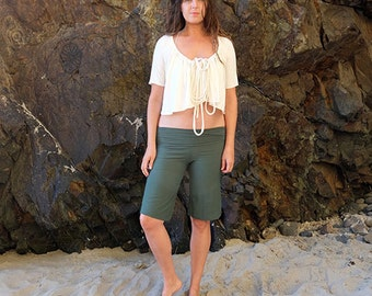 ORGANIC Stretchy Simplicity Bermuda Shorts ( light hemp and organic cotton Lycra ) - organic pants :